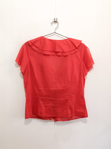 Ruffled Short Sleeve Blouse