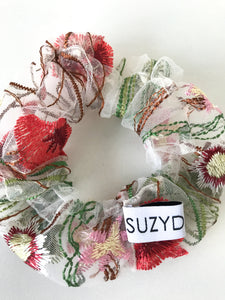 Embroidered Floral Scrunchie by Suzy Dang