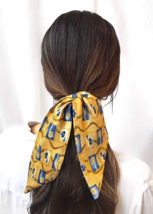Provence Print Silk Scarf Scrunchie by Suzy Dang