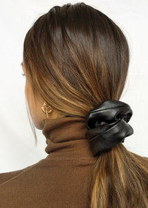 Black Vegan Leather Scrunchie by Suzy Dang