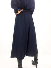 Vintage Pleated Culotte Trousers Navy
