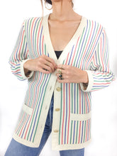 Virgin Wool Striped Cardigan