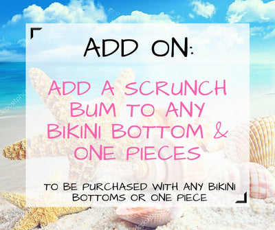 Add Scrunch Bum to Bikini Bottoms, Add On Detail to Bikinis, Dress up your Two Piece Swimwear, Make it Sexy with Bottom Accessory