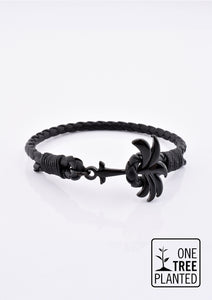 Eclipse - Season two Palm anchor bracelet with black leather.