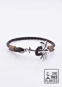 Oakland - Season two Palm anchor bracelet with brown leather.