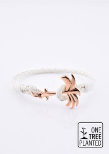Serene - Season two Palm anchor bracelet with white leather.
