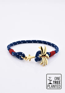 Seven Seas - Single - Season two Palm anchor bracelet with blue and white nylon band.