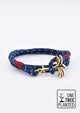 Seven Seas - Triple - Season two Palm anchor bracelet with blue and white nylon band.