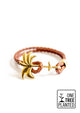 Sunrise Gold - Palm anchor bracelet with brown leather.