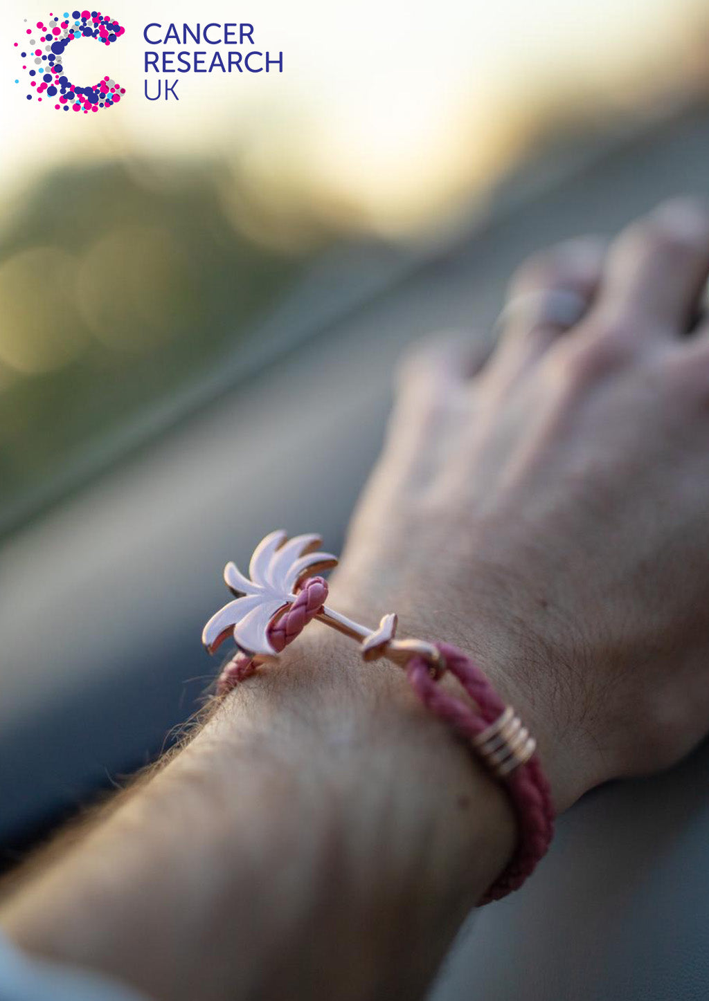 Flamingo Rose - Palm anchor bracelet with pink leather. 20% of sales go to cancer research.