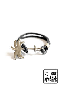 Twilight Silver - Palm anchor bracelet with black leather.