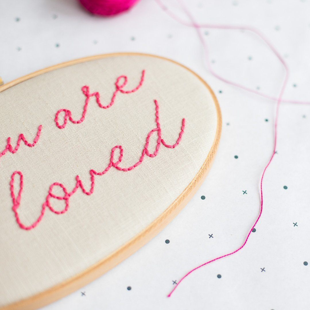 you are so loved embroidered hoop sign make mend company