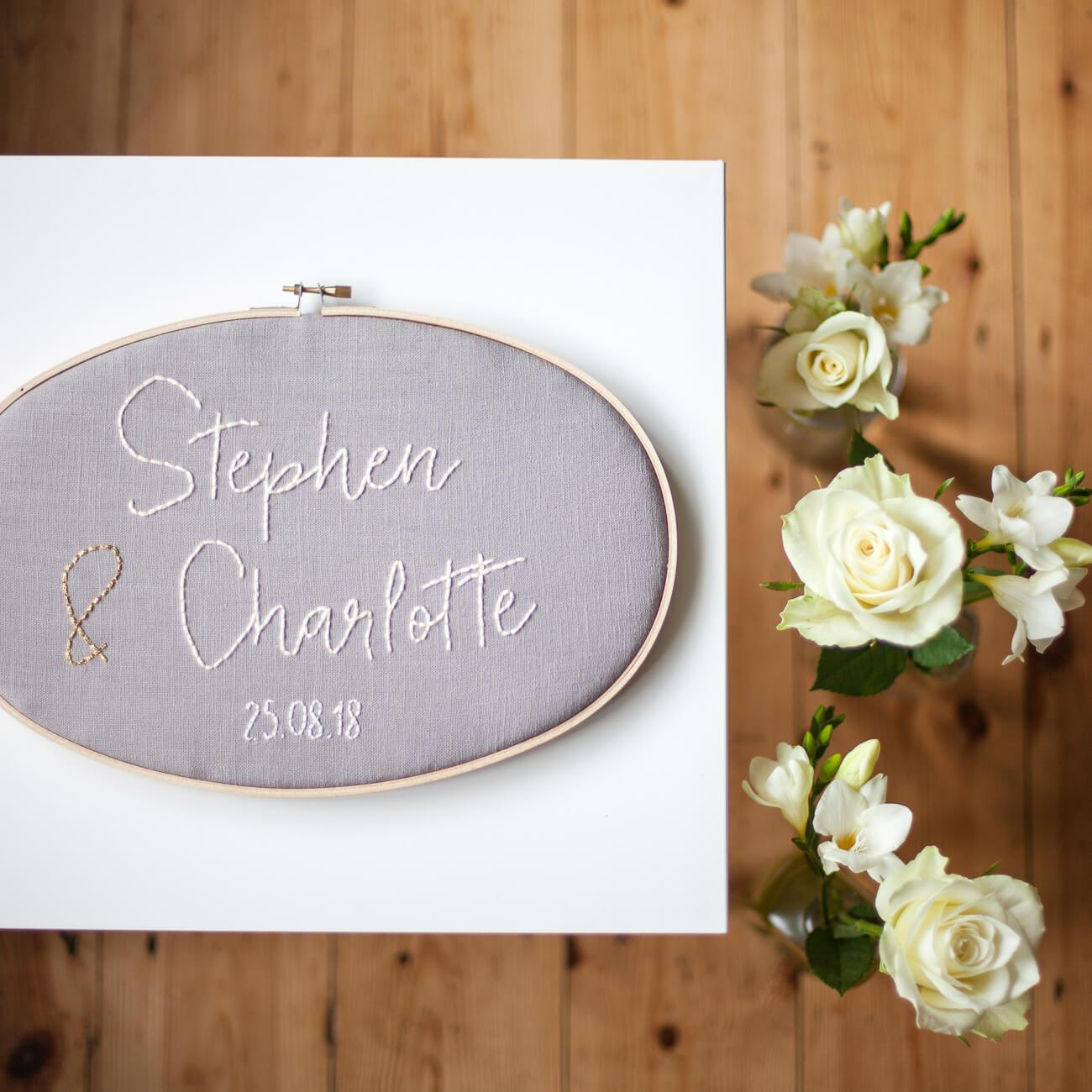 Personalised Wedding Gift Embroidered Hoop | Make & Mend Company