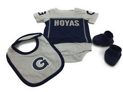Outerstuff Georgetown Hoyas Creeper, Booties and Bib 3-Piece Set Baby Clothing