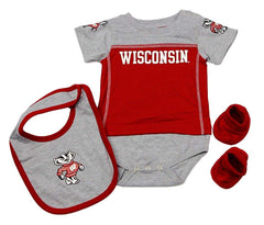 Outerstuff Wisconsin Badgers, Gen 2, 3-Piece Creeper Booties and Bib Baby Clothing Set