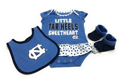 Outerstuff North Carolina Tar Heels, 3 Piece Creeper Bib Booties Apparel Set