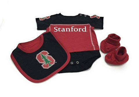 Outerstuff Stanford Cardinals Creeper, Booties and Bib 3-Piece Set Baby Clothing