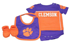 Outerstuff Clemson Tigers Creeper, Booties and Bib 3-Piece Set Baby Clothing