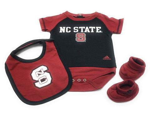 Outerstuff North Carolina State Wolfpack, 3-Piece Creeper Booties and Bib Baby Clothing Set