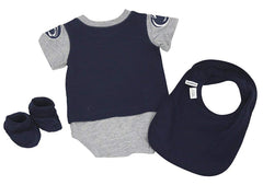 Outerstuff Penn Sate Nittany Lions 3-Piece Creeper, Booties and Bib Set Baby Clothing