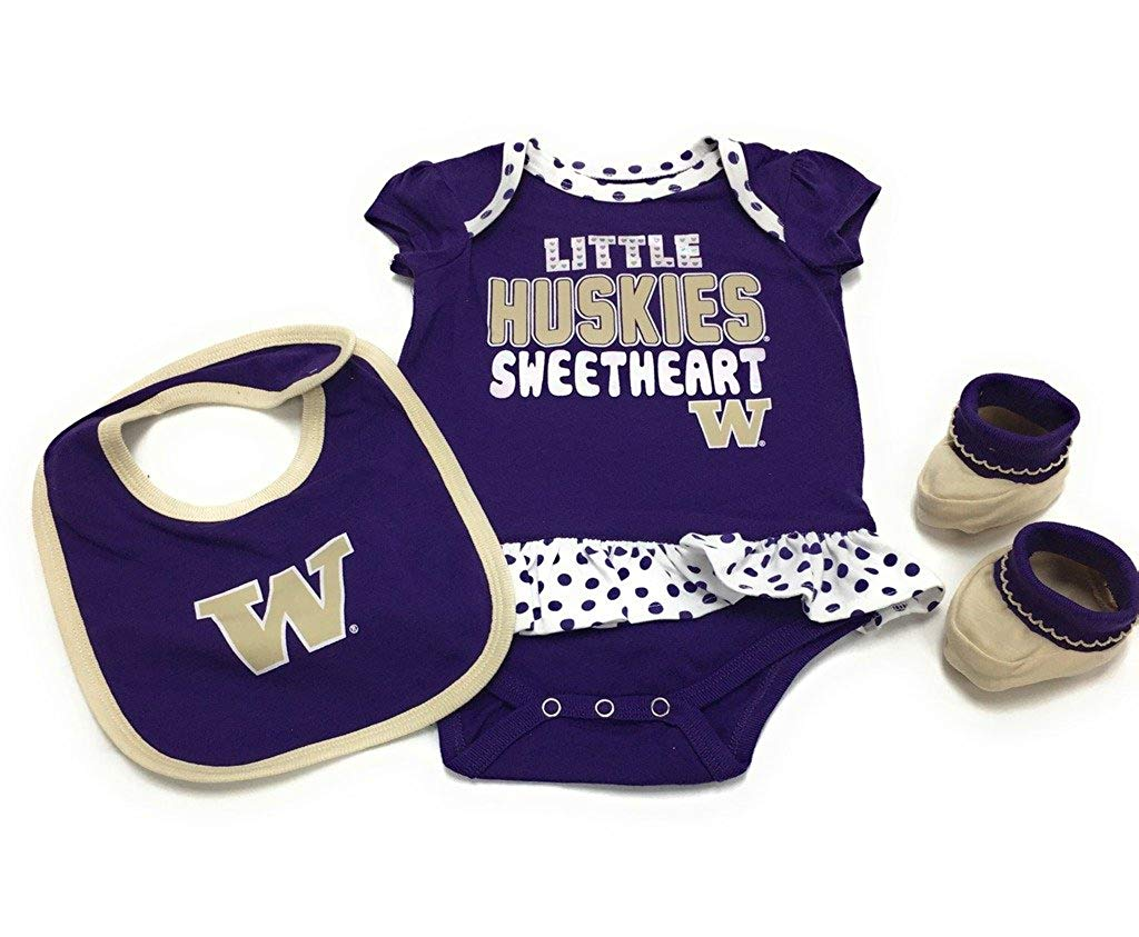 Outerstuff Washington Huskies Little Sweetheart, Bodysuit Booties and Bib 3-Piece Set Baby Clothing