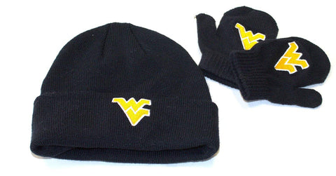 West Virginia Mountaineers NCAA Licensed Infant / Toddler Knit Beanie Hat Cap Lid and Mitten Set