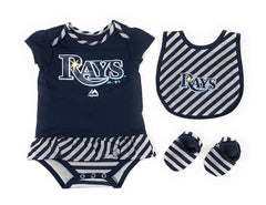 Outerstuff Tampa Bay Rays Girls Baby Clothing, 3 Piece Creeper, Bib and Booties Apparel Set