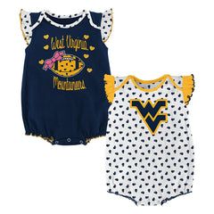 Outerstuff West Virginia Mountaineers 2 Piece Onesie Baby Clothing Apparel Set