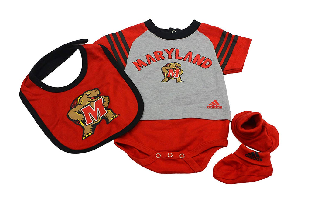 Outerstuff Maryland Terrapins Baby Clothing, University 3 Piece Creeper Bib Booties Apparel Set