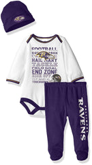 Baltimore Ravens Childrenswear NFL Bodysuit, Pants and Cap Set for Toddlers, Kids White/Purple