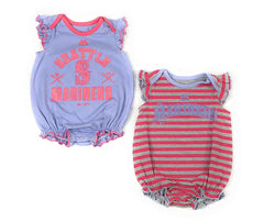 Outerstuff Seattle Mariners Baseball Girls Baby Pink Sparkle Clothing Apparel 2 Piece Creeper Set