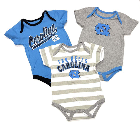 Outerstuff Gen 2 North Carolina NC Tar Heels Little Kicker 3 Piece Creeper Bodysuit Set