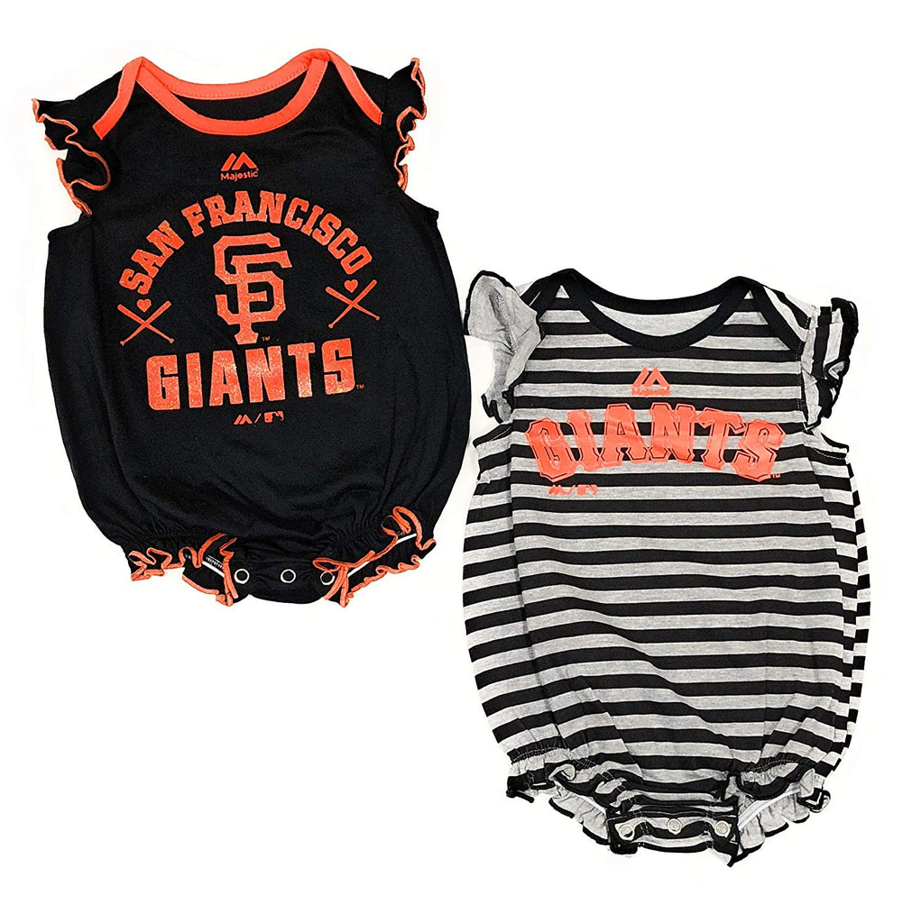 "Outerstuff San Francisco Giant Girls 2 Piece Creeper Bodysuit ""Team Sparkle"" Baby Clothing Apparel Set"