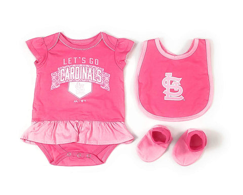 Outerstuff St. Louis Cardinals Girls Baby Clothing, 3 Piece Creeper Bib Booties Apparel Set