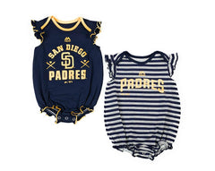 Outerstuff San Diego Padres Baseball Girls Baby Sparkle Clothing Apparel 2 Piece Creeper Set