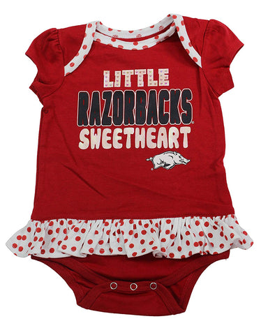 Outerstuff Arkansas Razorbacks Girls Clothing, University 3 Piece Polka dot Creeper Bib Booties Apparel Set