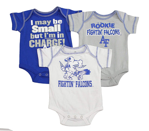 Outerstuff Baby Air Force Fighting Falcons Rookie 3 Piece Creeper Apparel Set for Baby