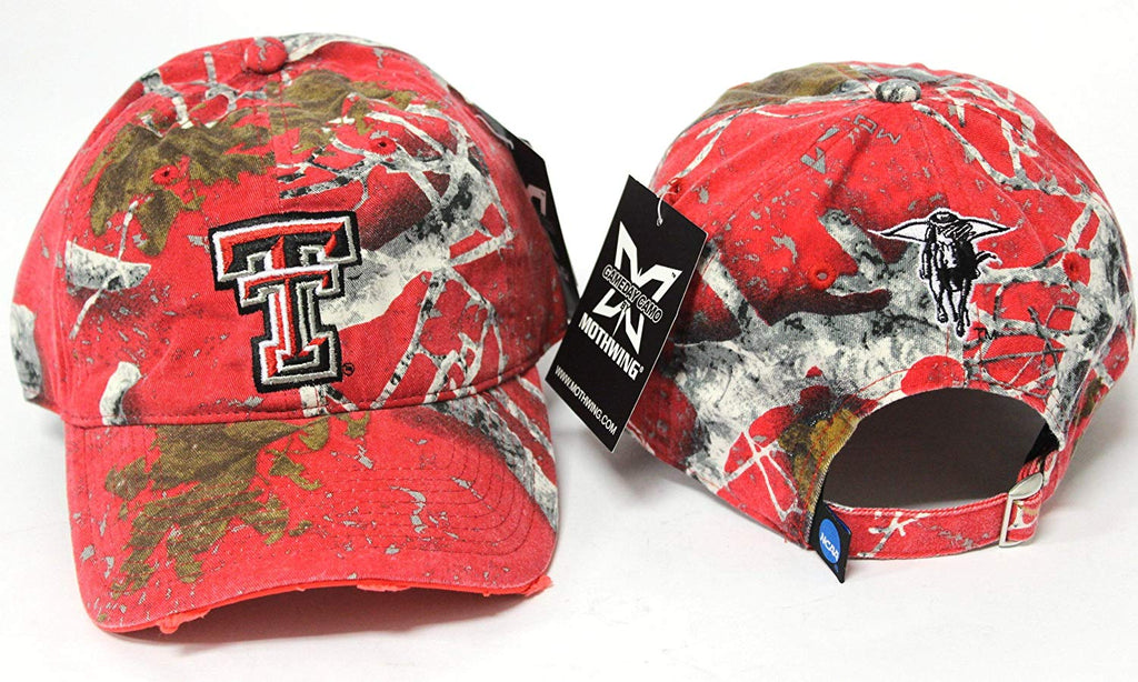 Texas Tech Adjustable Belt Buckle Embroidered Pre-Distressed Red Camo One Fit Cap Hat