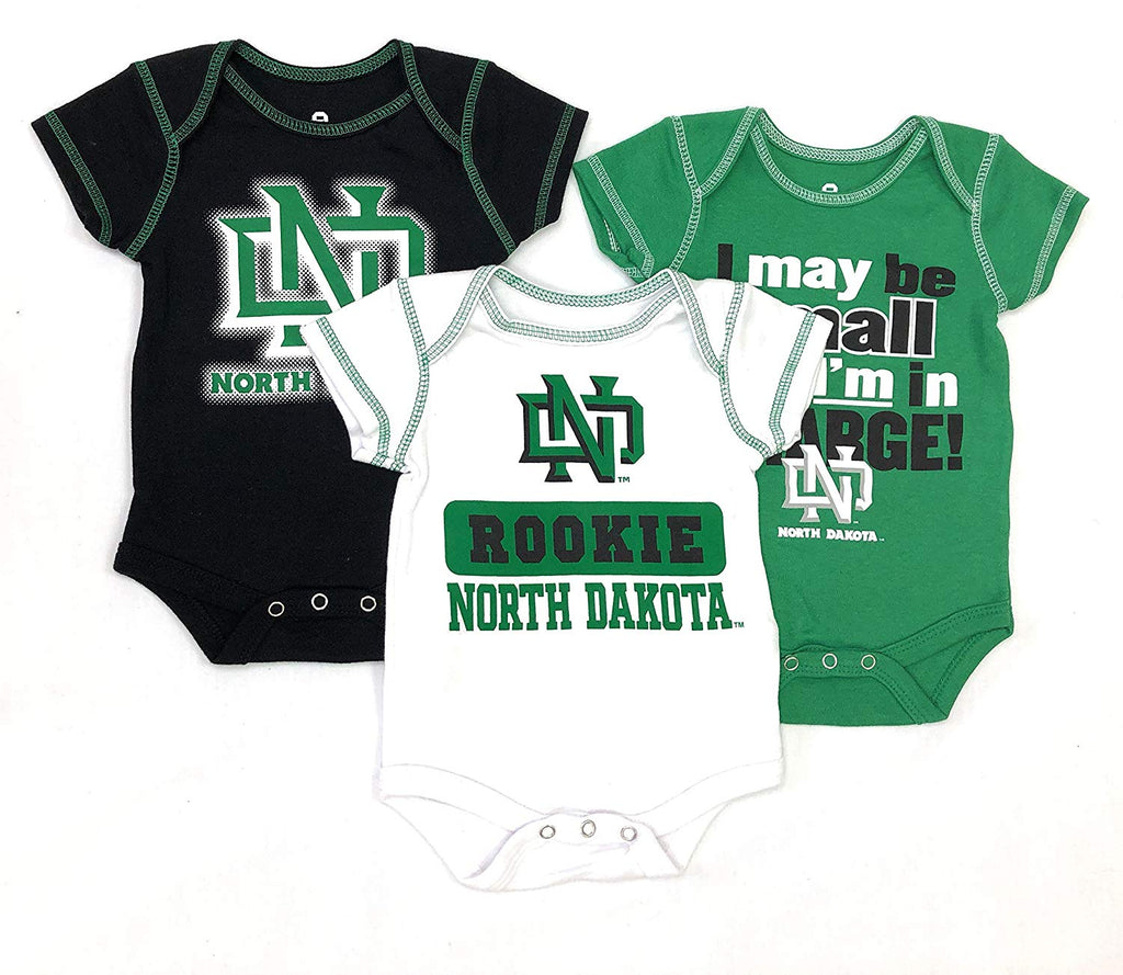 Outerstuff North Dakota Bisons, University 3 Piece Creeper Apparel Set for Baby