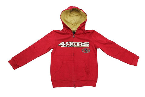 Team Apparel Youth Boy's Embroidered San Francisco 49ers Hooded Sweat Jacket