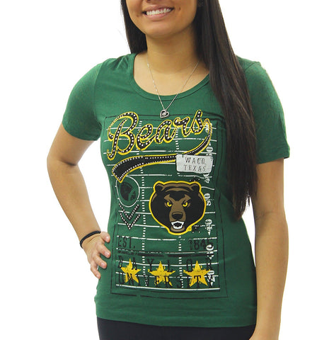 Creative Apparel Women's NCAA Baylor Bears Vintage Stone Burn Out Sleeves Bling T-Shirt