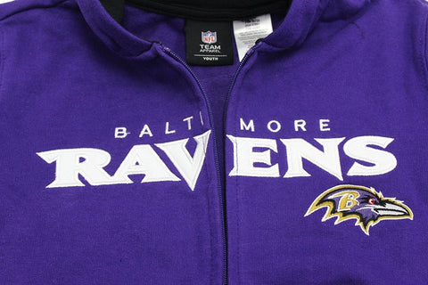 OuterStuff Team Apparel Youth Boy's Embroidered Baltimore Ravens Hooded Sweat Jacket