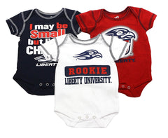 OuterStuff Liberty University Eagles Baby Clothing, 3 Piece Creeper Apparel Set