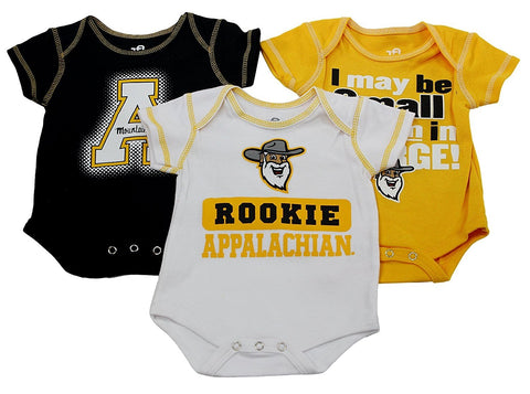 OuterStuff Appalachian State Mountaineers Baby Clothing, University 3 Piece Creeper Apparel Set