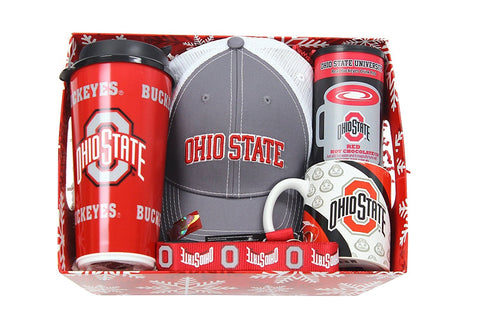Ohio State Buckeye Holiday Gift Bundle Mug Cap Tumbler Hot Chocolate Lanyard in a Gift Box