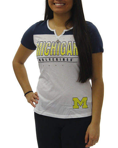 Creative Apparel Women's NCAA Michigan Wolverines Sporty Text Slot Neck T-Shirt Tee
