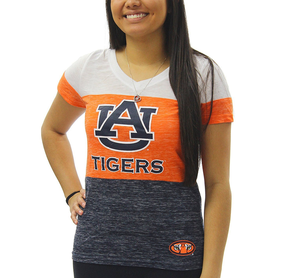 Creative Apparel Women's NCAA Auburn Tigers Tri Color T-Shirt Tee