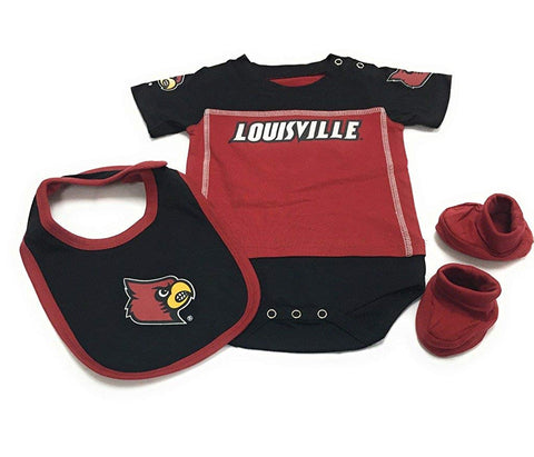 Outerstuff Baby Louisville Cardinals 3 Pack Bib Bootie Bodysuit Set