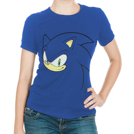 dd655a76a09e Official Sonic the Hedgehog Blue Women's Style Sonic T-Shirt - Sonic