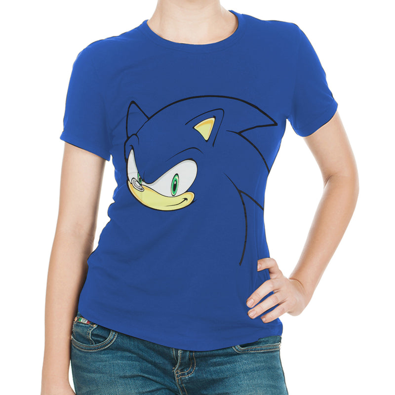Official Sonic the Hedgehog Blue  Women's Style Sonic T-Shirt - Sonic
